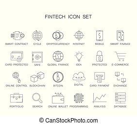 pack., ikony, fintech, kreska, set.