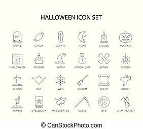 pack., ikony, halloween, kreska, set.