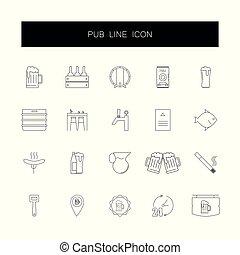 pack., ikony, kreska, knajpa, set.
