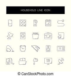 pack., ikony, kreska, rodzina, set.