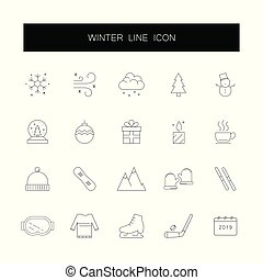 pack., ikony, kreska, zima, set.