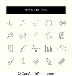 pack., ikony, muzyka, kreska, set.