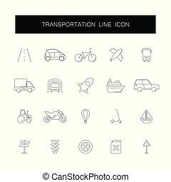 pack., ikony, przewóz, kreska, set.