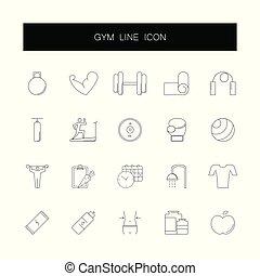 pack., ikony, sala gimnastyczna, kreska, set.