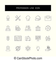 pack., ikony, zawód, kreska, set.