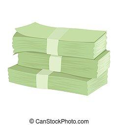 pack., illustratie, bankpapier., vector, stapel, geld