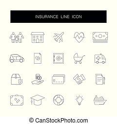 pack., kreska, ikony, ubezpieczenie, set.