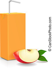Pack of apple juice with drinking straw and slice of apple