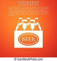 Pack of beer bottles icon isolated on orange background. Case crate beer box sign. Flat design. Vector Illustration