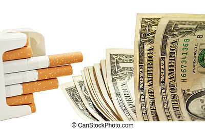 Pack of cigarettes and dollars - Quit smoking concept