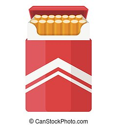 Pack of cigarettes icon in cartoon style isolated on white background. Drugs symbol stock vector illustration.