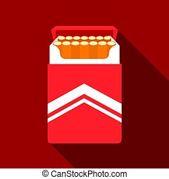 Pack of cigarettes icon in flat style isolated on white background. Drugs symbol stock vector illustration.