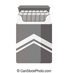 Pack of cigarettes icon in monochrome style isolated on white background. Drugs symbol stock vector illustration.