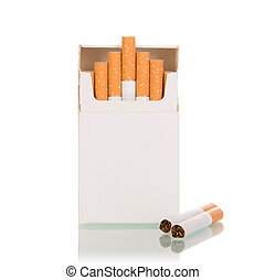 Pack of cigarettes, two cigarettes lie side by side, isolated on white