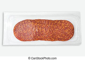 Pack of circular shaped sliced Chorizo de Pamplona