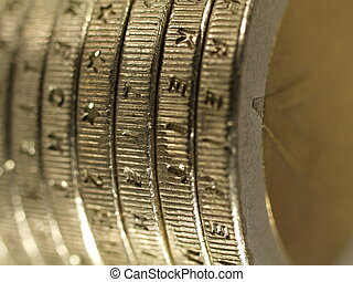 Closeup of a pack of 2 Euro coins