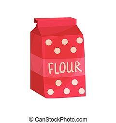 Pack of flour, baking ingredient vector Illustration