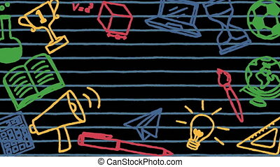 Pack of four animated back to school items on ruled paper ...