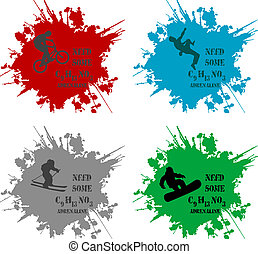 pack of four sport silhouettes inside a ink splat with quote - need some C9H13NO3 - Adrenaline