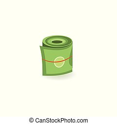 Pack of green dollar paper banknotes rolled up with rubber isolated on white background.