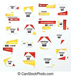 Pack of Label Collection Color red, yellow, black color