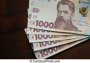 Pack of new Ukrainian paper banknotes face value thousand ...