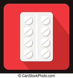 Pack of pills icon, flat style