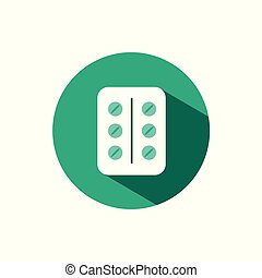 Pack of pills icon with shadow on a green circle. Vector pharmacy illustration