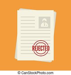 Cv denial. resume, personal file - Pack of sheets of paper ...