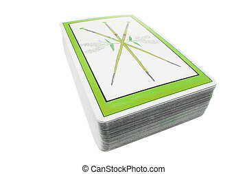 Pack of Tarot Cards on White Background