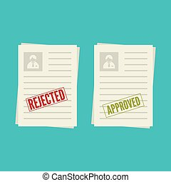 Pack sheets paper with stamp of rejected, approval. Summary ...