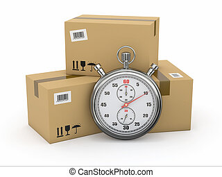 package., ストップウォッチ, 急行, delivery.