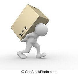 Package - 3d people - human character carry a big package ....
