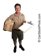 Package Arrived - a courier delivering a package and holding...