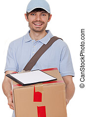 package arrived - courier delivering a package with...
