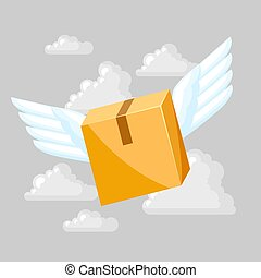 Package box with wings.