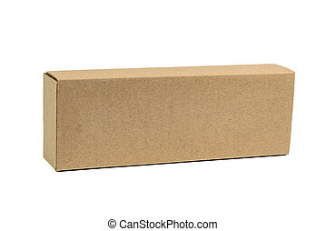 Package brown cardboard box for long items. Mockup, isolated