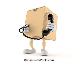 Package character holding a telephone handset