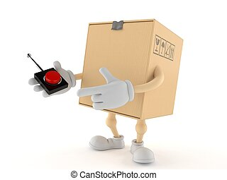 Package character pushing button on white background