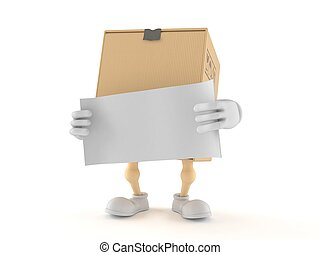 Package character with blank sheet of paper