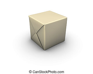 package - An isolated box wrapped in paper on white...