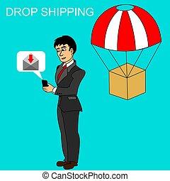 package., e-mail, smartphone, expédition, réception, recevoir, homme affaires, goutte, sur, concept.