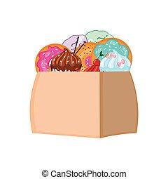 package., eco, arrière-plan., vecteur, bonbons, muffins, pulvérisation, illustration., beignets, vitré, blanc, concept., clair, glaçage, sac, papier