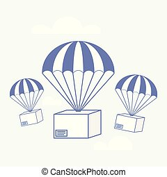 Package flying on parachute, delivery service concept