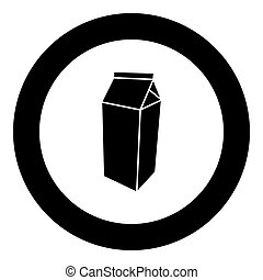 Package for milk icon black color in circle
