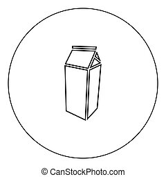 Package for milk icon black color in circle vector illustration isolated