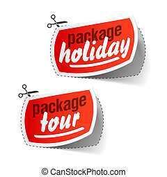 Vector illustration of package holiday and package tour labels