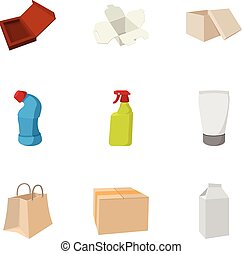 Package icons set, cartoon style