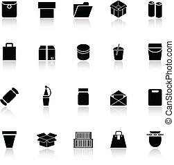 Package icons with reflect on white background