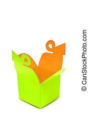 Package Light green Box Opened Inside Orange